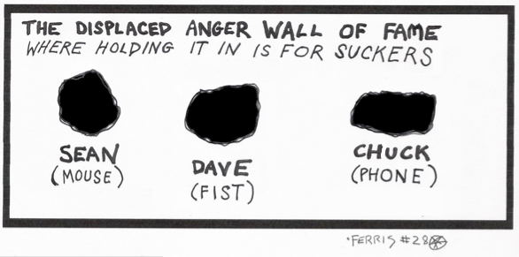 Picture of wall with three holes in it. Caption: The Displaced Anger Wall of Fame, where holding it in is for suckers. Beneath three holes: Sean (computer mouse), Dave (Fist), Chuck (Phone)