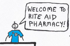 "Pharmacist with a faux-Mohawk says, ""Welcome to Rite-Aid Pharmacy."""