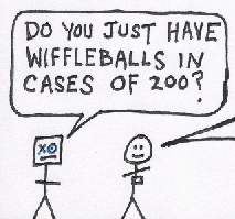 "thumbnail teaser: a man asks a clerk, ""Do you only have wiffleballs in cases of 200?"""