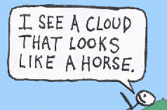 "Teaser: A sunny day. Three kids sit on a grassy hill. One says, ""I see a cloud that looks like a horse."""