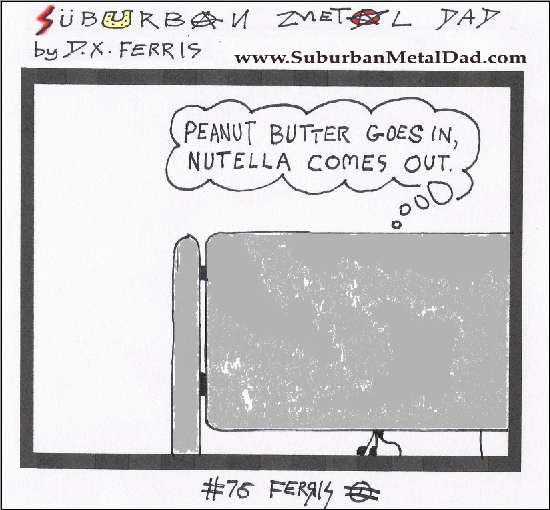 "In a restroom stall, a man thinks, ""Peanut butter goes in, Nutella comes out."""