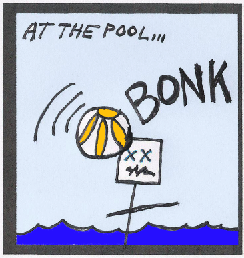 thumbnail: a beachball hits a man in a swimming pool, with a loud BONK!