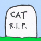 "teaser: a tombstone says ""Cat R.I.P."""